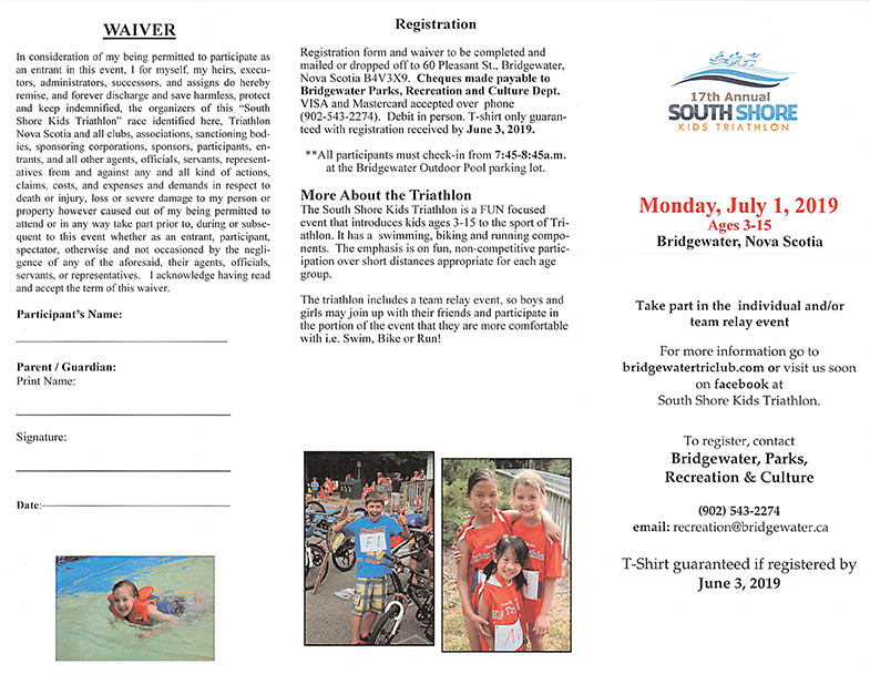 2019 South Shore Kids Triathlon Registration Form 1b
